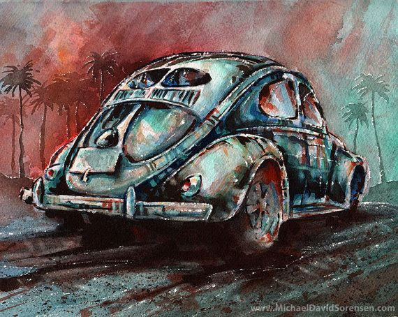 """A Split Window VW Bug at Sunrise""  ORIGINAL watercolor painting by Michael David Sorensen  www.MichaelDavidSorensen.com"