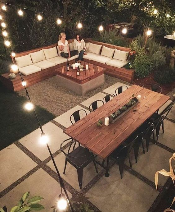 Trying to figure out how to get an outdoor dining space and sofa space...