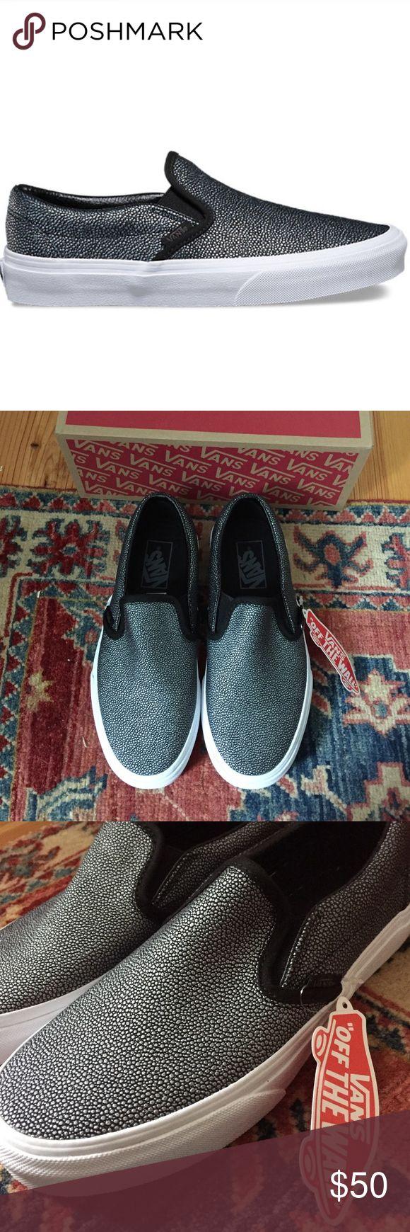 Vans Classic Slip On Style: embossed stingray black, brand new, never worn Vans Shoes Sneakers