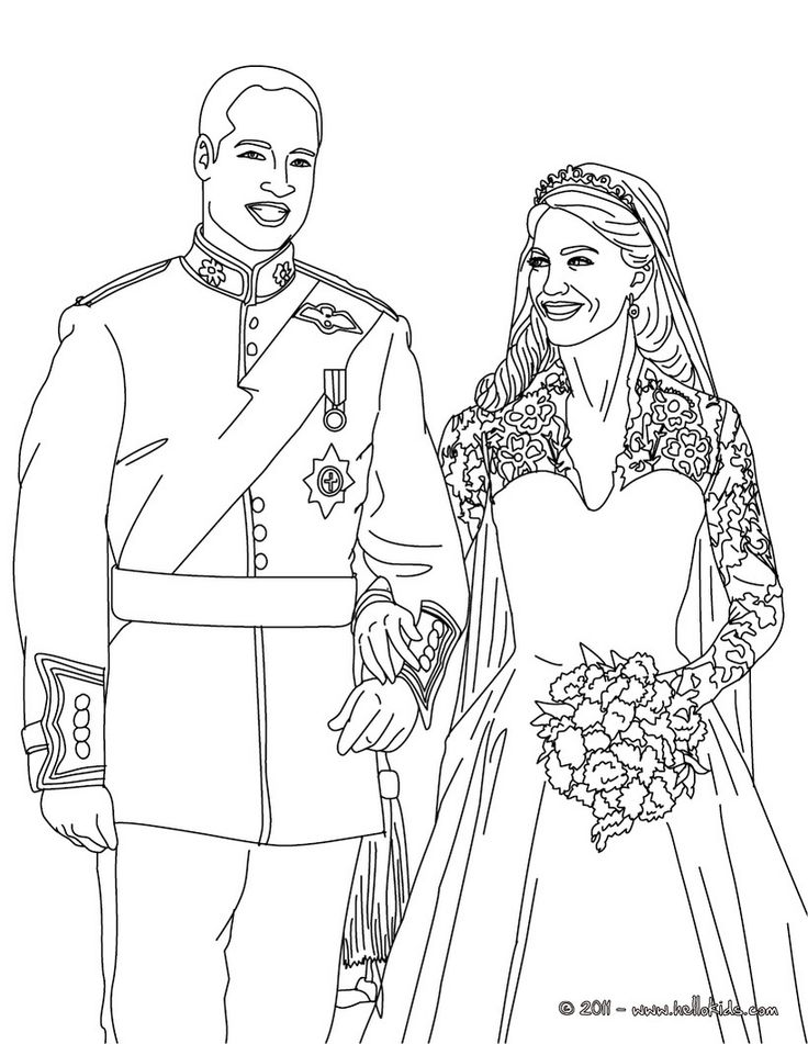 Royal Princess Coloring Pages Prince William and Kate