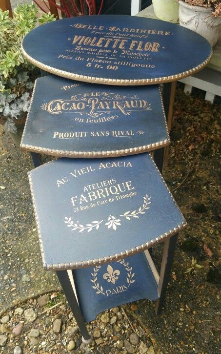 Shabby chic table nest in a French Art Deco style using Annie Sloan's Napoleonic Blue and dark wax with gold gilding wax stecilling, by Imperfectly Perfect xx