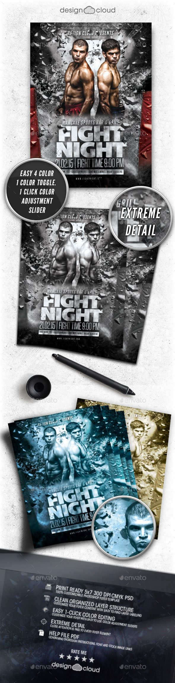 MMA Fight Flyer Template Vol. 1 — Photoshop PSD #throwdown #poster • Available here → https://graphicriver.net/item/-mma-fight-flyer-template-vol-1/10399337?ref=pxcr