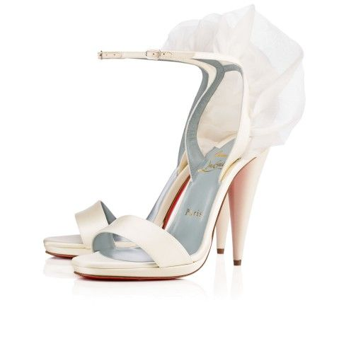 A Simply Elegant Ankle Strap Sandal It Features Conical Heel And Light Billowy Organza Wing Detail Perfect For Your Wedding Day This Off White Crepe
