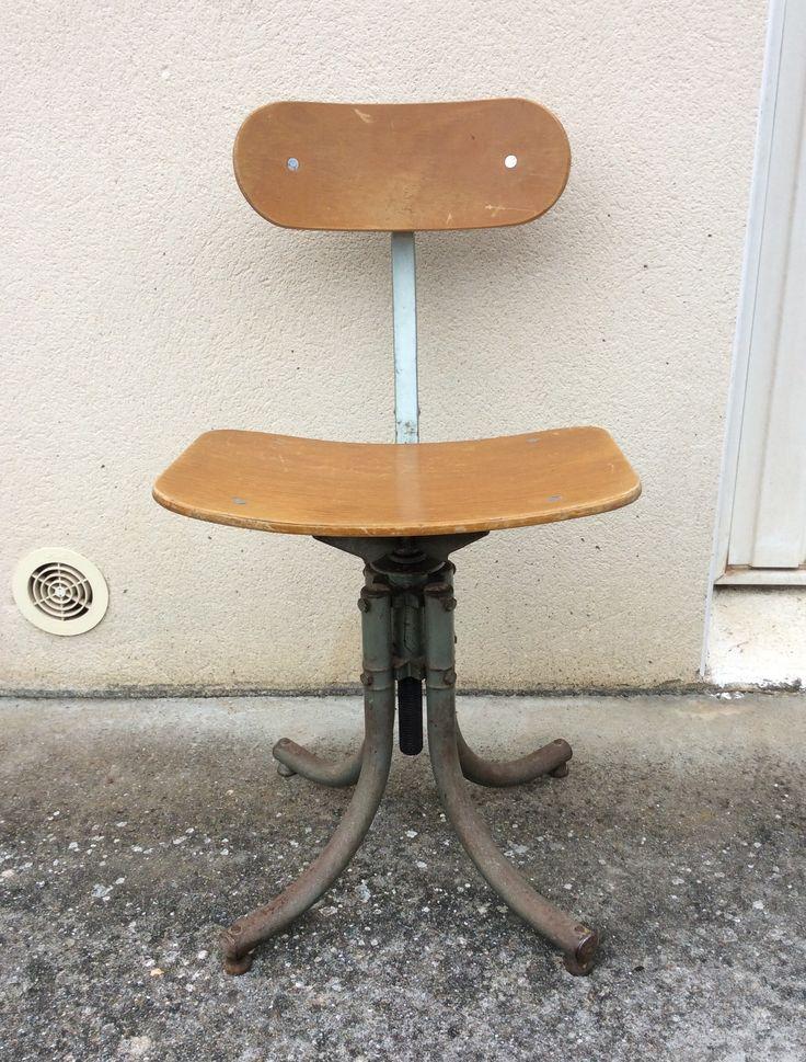 teollisuustyylinen 'ateljeetuoli' 50 luvulta . säädettävät korkeus ja selkänoja . #kooPernu
