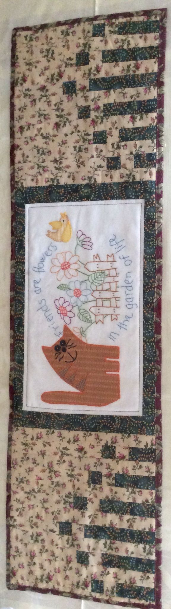 Cat embroidery quilt runner