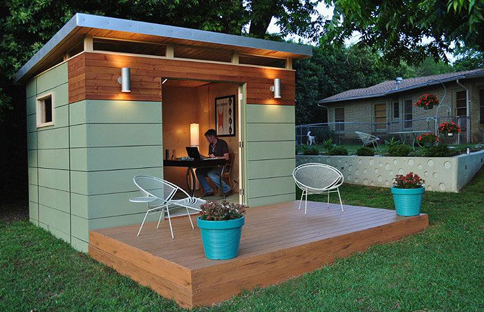 "Introducing ""Shedquarters"" by Kanga Room out of Austin, Texas. These backyard studios come in three styles: modern, country cottage, and bungalow. The basic package for an 8×8-foot shed starts around $5,900 and you can add on a bathroom, kitchenette, and front porch for additional cost."