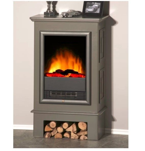 Swell Electric Stove Fireplace Vintage Grey Heater Real Fire Flame Download Free Architecture Designs Parabritishbridgeorg