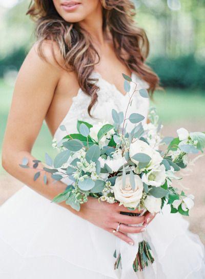 Eucalyptus and rose bouquet: http://www.stylemepretty.com/2015/07/13/rustic-elegant-jacksonville-wedding/ | Photography: Lauren Peele - http://www.laurenpeelephotography.com/