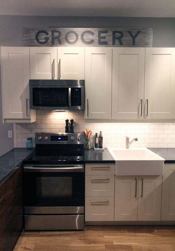 small kitchen, diy concrete countertops