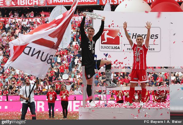 "Bayern Munich goalkeeper Manuel Neuer went ""full John Terry"" as he lifted the Bundesliga Meisterschale in full kit despite not playing due to injury"