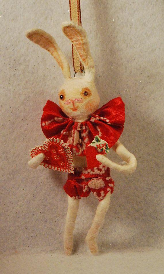 Spun Cotton Handmade Vintage Craft Ornament OOAK  by jejemae. My Bunny Valentine