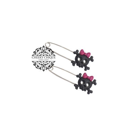 Sugar Skull Diaper Pins by Cheeky Chique Baby, $4.99