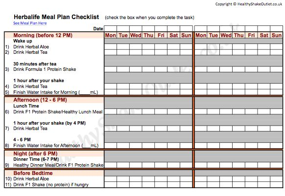 Herbalife Meal Plan Food Journal Worksheet 1 ask me how to get started herbaidoolife@gmail.com