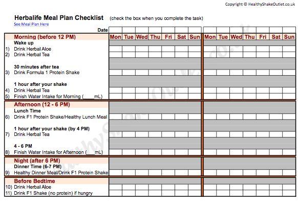 Herbalife Meal Plan Food Journal Worksheet 1 ask me how to get started herbaidoolife@gmail.com