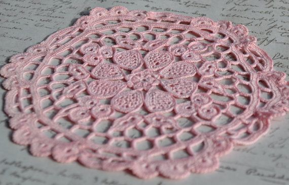 Pink Crochet Doily  Hand dyed  Lacey  Cotton  by Raspberrytreats