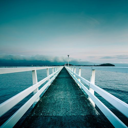 Sunrise seaside jetty walk in Auckland New Zealand