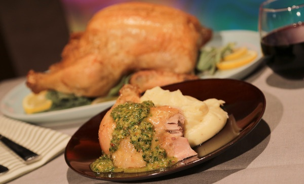 the chew | Recipe  | The Chew's Roast Chicken With Salsa Verde And Creamy Potatoes: Chicken Salsa, Potatoes Recipe, Roast Chicken, Clinton Kelly, Chewing Recipe, Roasted Chicken, Creamy Potatoes, Chewing Roasted, Green Sauce