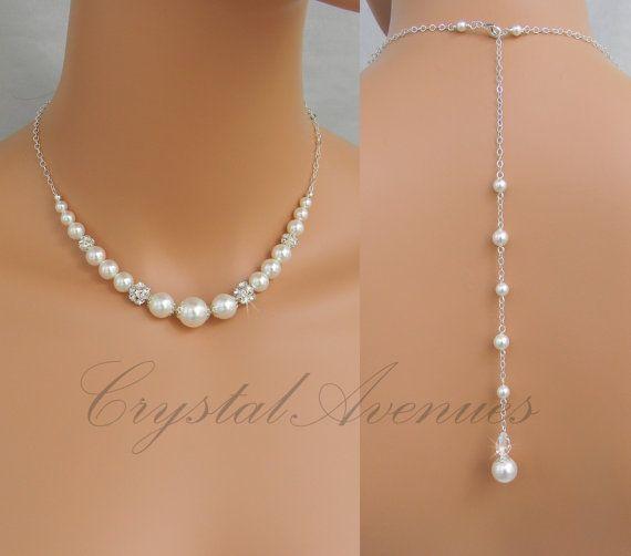Back drop necklace, Pearl Back drop, Bridal necklace, Wedding Bridesmaid Jewelry swarovski pearls crystals,rhinestones, Bethany Necklace