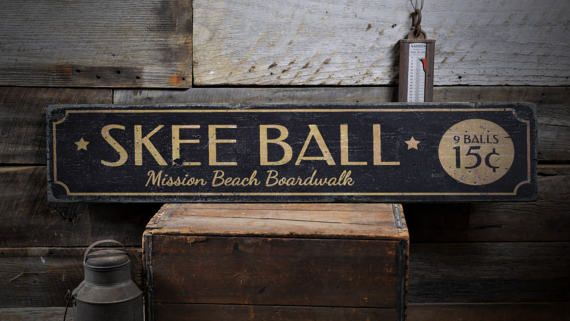 Skee Ball Sign, Custom Wood Sign for Game Room Decor Skee Ball, Beach Boardwalk Game Sign, Rustic HandMade Vintage Wooden Sign ENS1001837