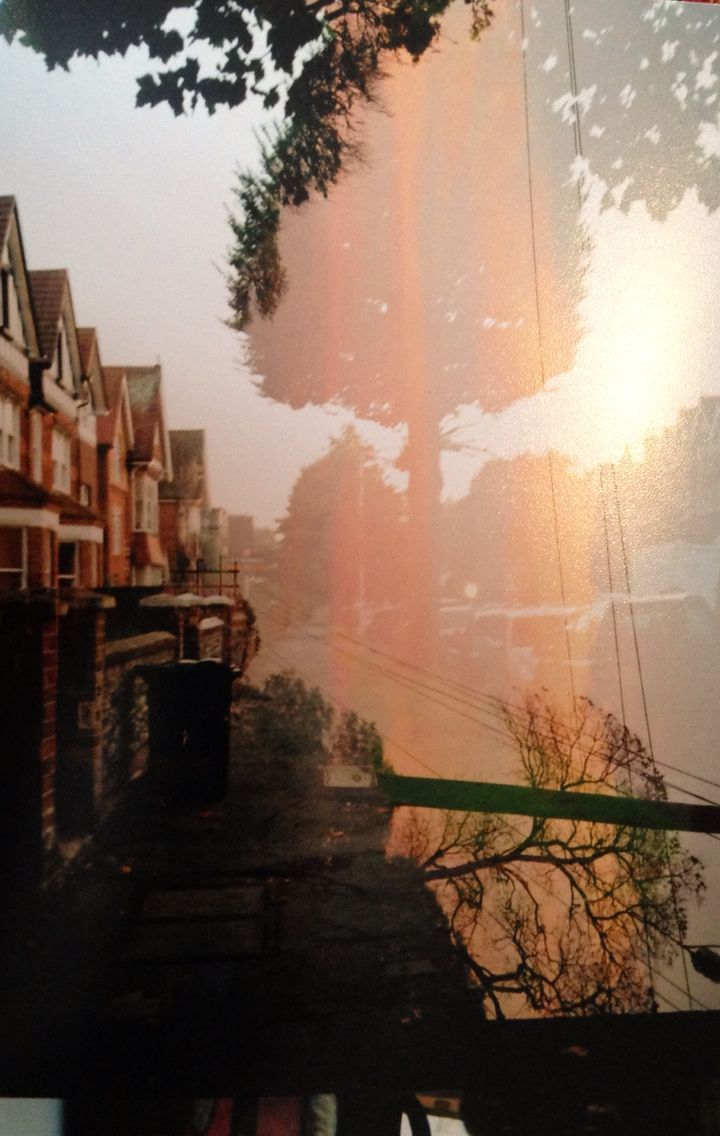 Double exposure, Malawi sunset and Eastbourne town
