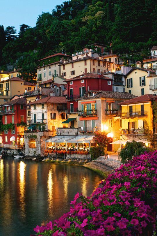 Lake Como at dusk in Varenna, Italy