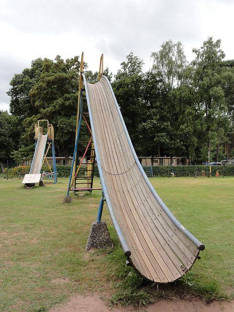 Vintage wooden playground slides - The Netherlands