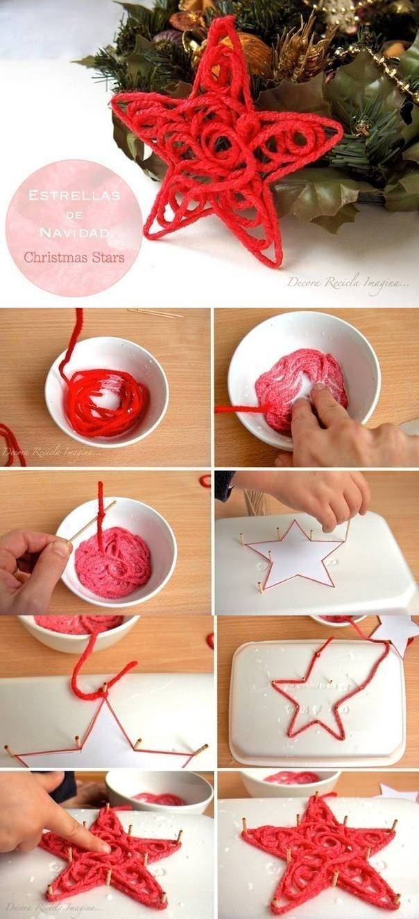 DIY Christmas Star with yarn - photos only, but it looks easy enough to follow