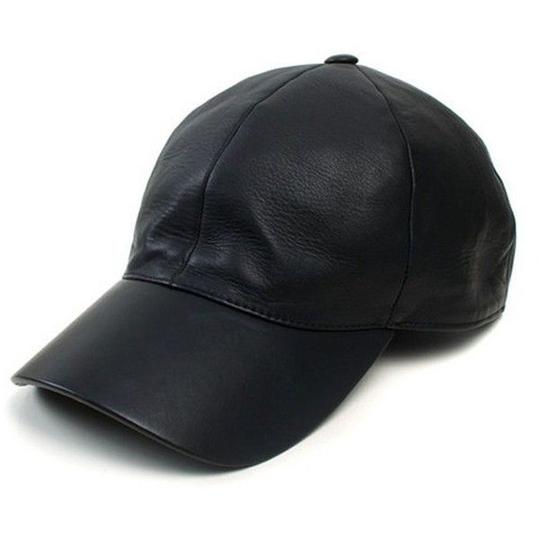 Vianel Leather Baseball Cap ($345) ❤ liked on Polyvore featuring accessories, hats, black, cap, chapeus, apparel & accessories, brim cap, leather cap, baseball caps hats and leather cap hat