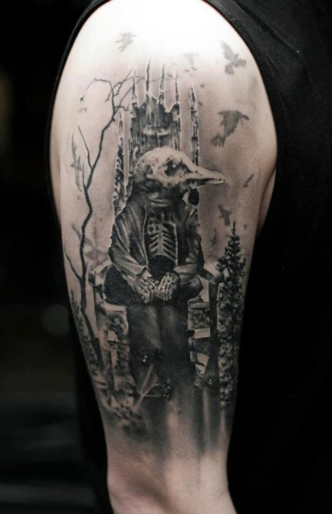 12 best images about music tattoo sleeve ideas on for Skeleton king tattoo