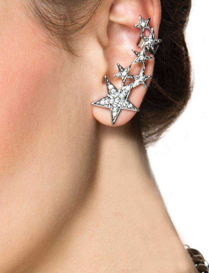 Vivi Earrings - Silver Diamond Star Ear Cuff - $12