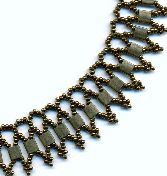 Bronze Tila Bead Netted Beadwoven Necklace