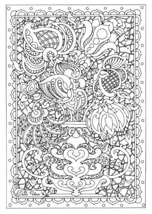 細かくてお花いっぱいの塗り絵ぬりえ【無料イラスト・テンプレート素材 Detailed Coloring