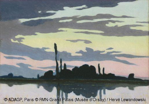 Charles Guilloux (1866-1946) Evening,1892, Oil on canvas,H.32;W.46cm.In a short time, the titles of his paintings became more and more elliptical,sometimes with musical connotations (Lunar Scherzo,1894,location unknown),whereas their original subjects became less easy to identify.Evening is an example of this,where a few dark trees on a barely visible strip of land are silhouetted against water and sky.