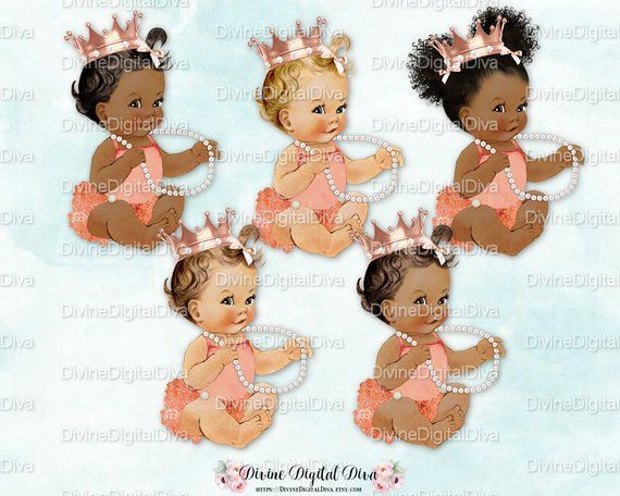 Baby Girl 3 Skin Tones Clipart Instant Download Princess Ruffle Pants Pink Sneakers Gold Crown Pearls