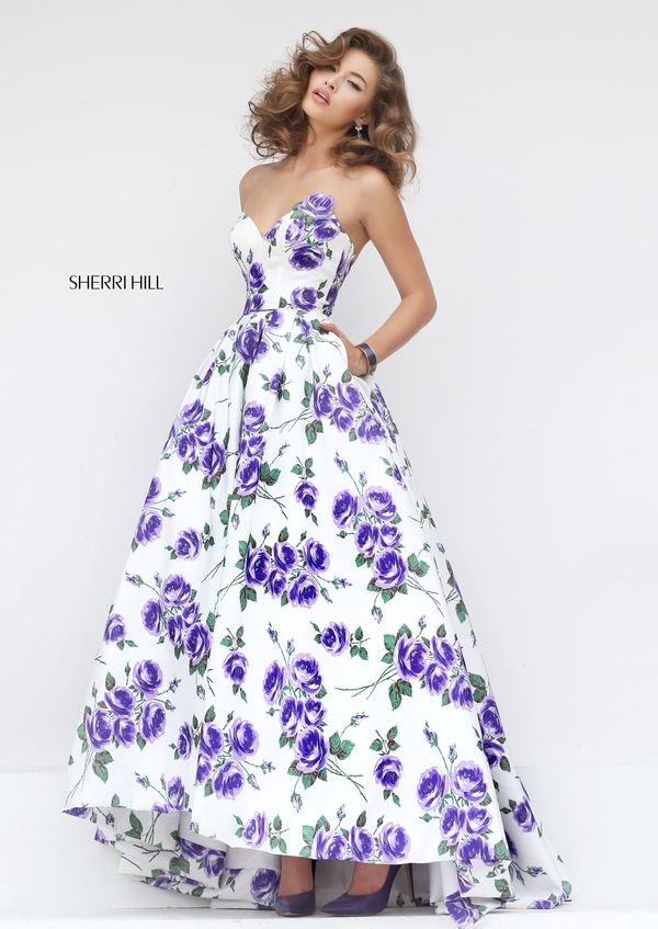 Sherri Hill Style 50482: Audrey length dress, purple, floral, pockets, prom. Colors available: ivory/orange print, ivory/pink print, ivory/purple print, ivory/yellow print