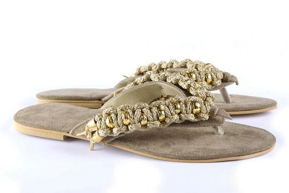Jeweled leather sandal Cruising  Beige by Gesinee on Etsy, €95.00