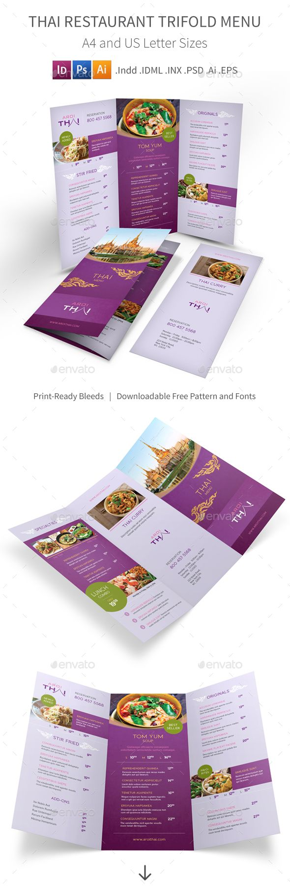 Tasty PSD Thai Restaurant Trifold Menu 2 Template • Only available here ➝ http://graphicriver.net/item/thai-restaurant-trifold-menu-2/16258906?ref=pxcr
