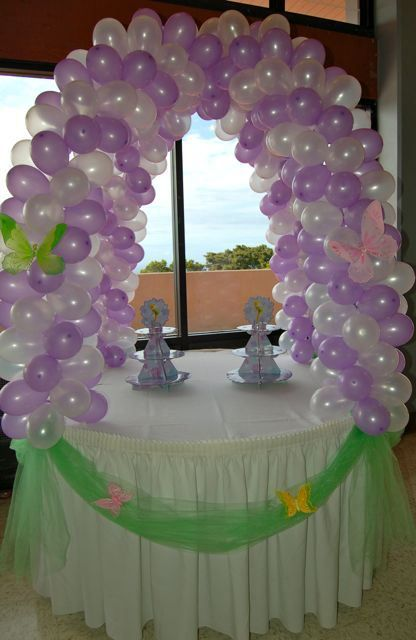 Cake Table Decorations With Balloons : Brookie s Tinkerbell Birthday! Balloon Decorations ...