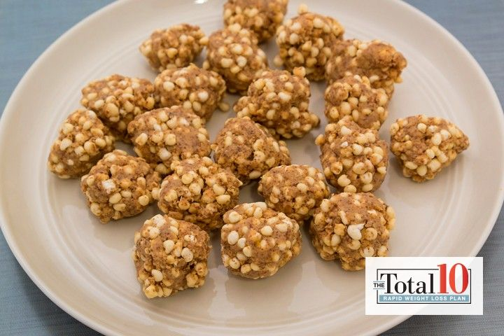 Total 10 Quinoa Almond Butter Balls |1/2 cup almond butter,  1 cup puffed quinoa,  1 tsp vanilla extract, Combine all the ingredients in a large bowl and mix together.The mixture is hard to roll into balls so pop it in the fridge for 20 minutes until it's firm.When ready, line a container with baking paper and using a spoon to measure, roll into little balls.