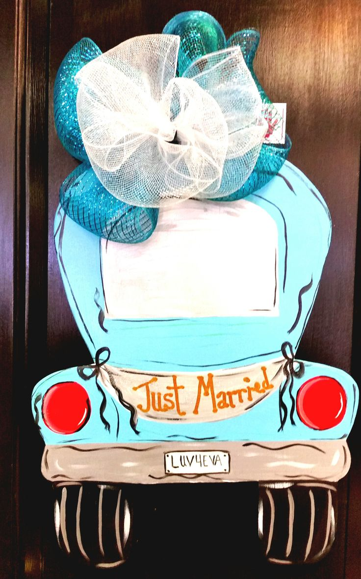 """Personalize a """"Just Married"""" wedding sign for their yard or their door. It is made to order in any color you choose. Message us with their names and special date."""