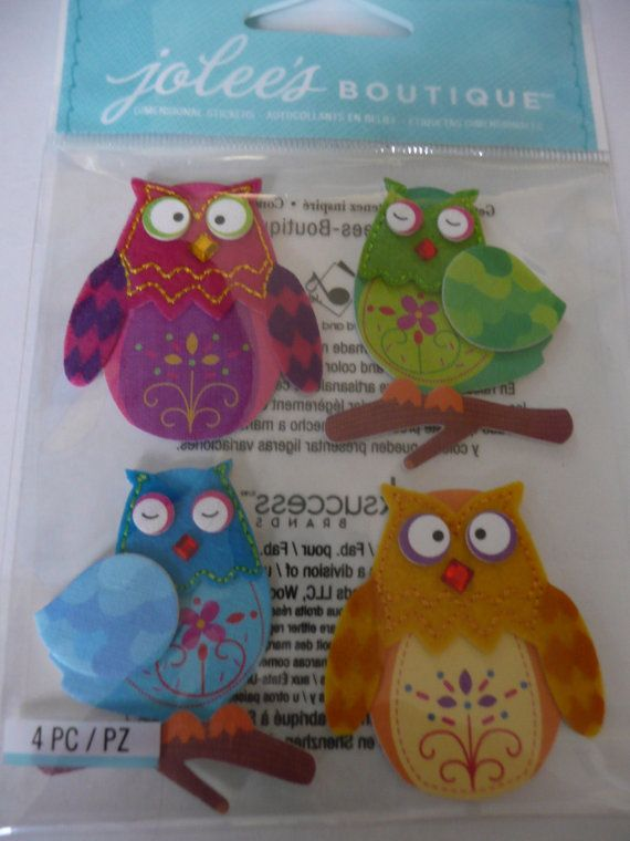 WHIMSICAL FELT OWLS - Baby's room/nursery - new baby scrapbooking layout ideas, BABY SHOWER INVITATION ideas!! Jolee's Boutique 3d Stickers by ExpressionsofFaith on Etsy