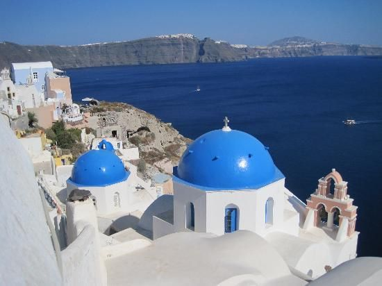 Hike from Fira to Oia - Santorini - it takes about 2 hours (5 miles) to hike along the caldera with the most beautiful view of the Aegean Sea.