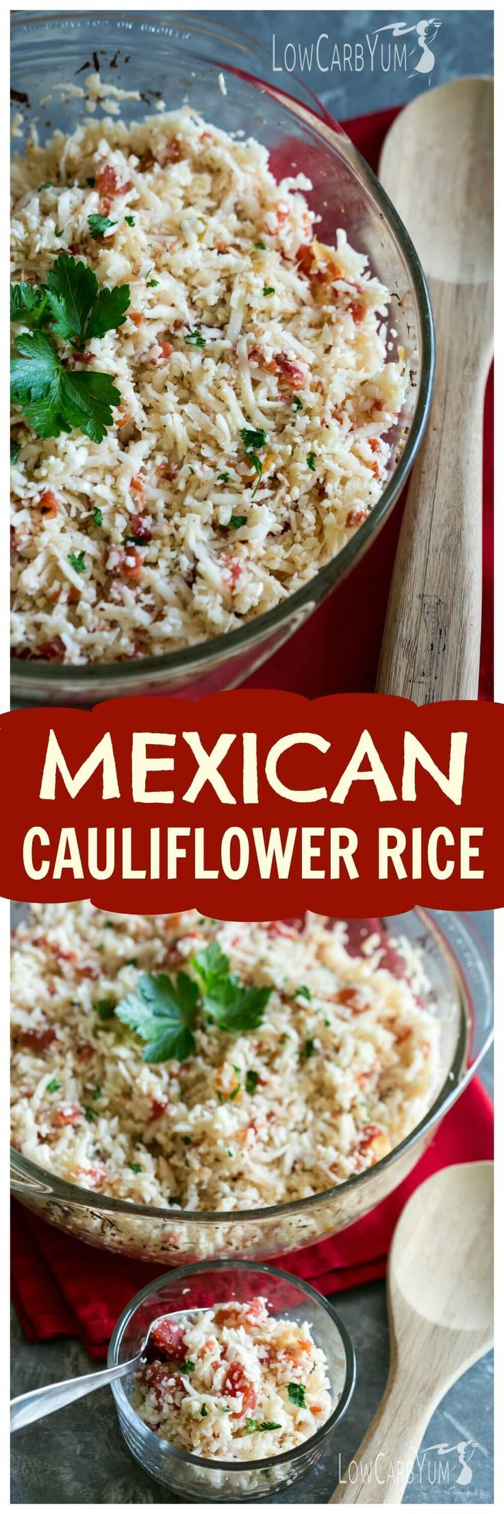 An easy low carb Mexican cauliflower rice that only takes a couple minutes to prepare. And, this simple dish can be made with only 4 common ingredients! http://LowCarbYum.com