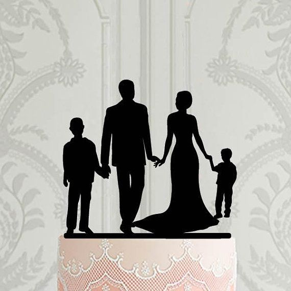 Family Cake Topper/_Bride /& Groom holding girl/_Custom wedding Cake Topper silhouette with date last name and children