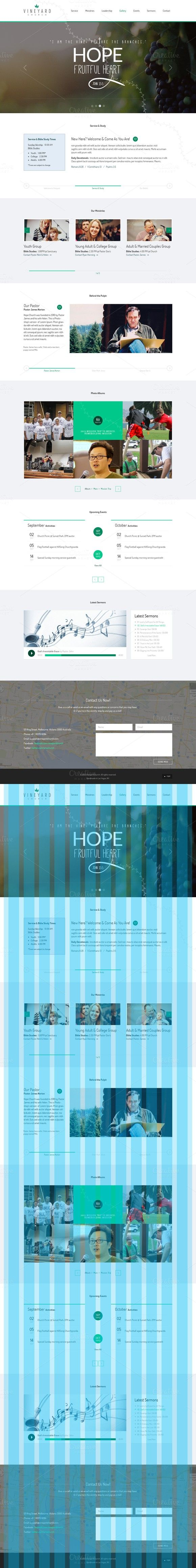 Vineyard Church - One Page Theme. Bootstrap Themes. $24.00