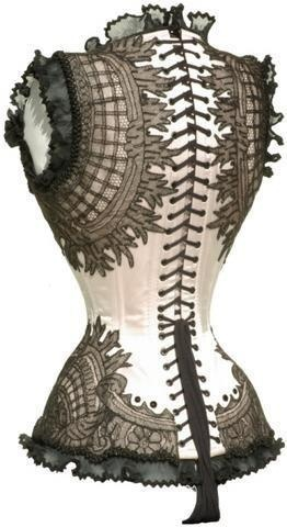 Black and White Victorian/Steampunk/Goth Corset