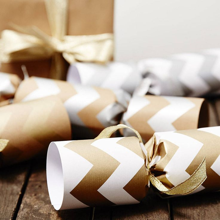 Recycled Metallic Chevron Christmas Crackers. Luxury Gold and Silver Christmas Crackers. Handmade from screen printed recycled paper. Add a festive finish to your christmas table with our metallic christmas crackers.