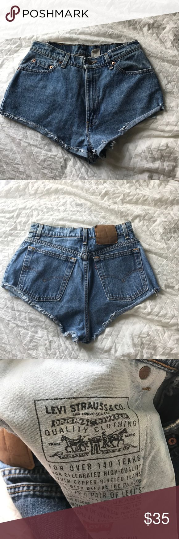 LEVIS Vintage Cheeky Cut Off Shorts High waisted, cheeky, cut off Levi jean shorts. No stains & great condition. Final price & no trades, please. Levi's Shorts Jean Shorts