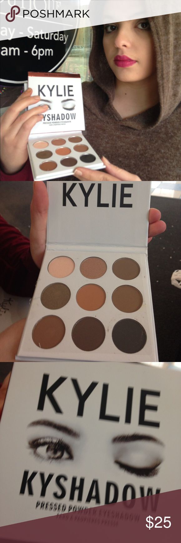 Kylie Kenner eyeshadow pallet 9 colors Brand New 1st photo my daughter is wearing her Kylie Jenner lip and eyeshadow all brand new the colors are fabulous and go on smooth and stay on these cosmetics where gifted from a friend in a LA I'm selling as a No Name Ai cannot verify but I can 100% say they are great they go on real nice and stay ok the price is awesome all brand new sorry no trades price is form these are brand new most neutral colors so you can even use to contour if you like my…