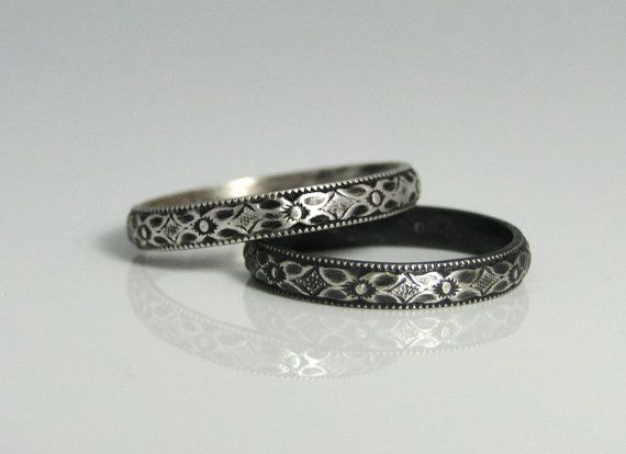 Sterling Silver Ring - Diamond Patterned Sterling Silver Ring Band - Wedding Band Anniversary Band Stacking Band - Made in your size